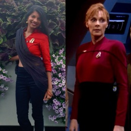 Captain Bev Picard styled after Captain Beverly Picard's command uniform
