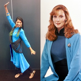 Blue Lab Coat Bev styled after Dr. Crusher's blue medical lab coat